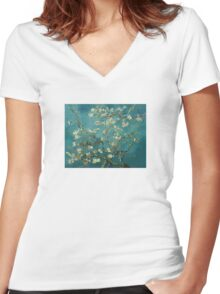 Blossoming Almond Tree Women's Fitted V-Neck T-Shirt