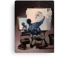 """Appropriation of Norman Rockwell's """"Triple Self-Portrait"""" Canvas Print"""
