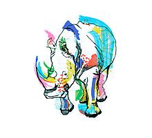 Rhino colour Photographic Print