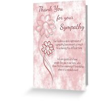 Thank You for your Sympathy Pink Sketched Flowers with Sentiment Words Greeting Card