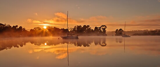 Misty river sunrise by fotosic