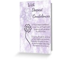 With Deepest Condolences Lilac Sketched Flowers with Sentiment Words Greeting Card