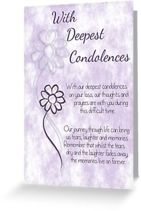 With deepest condolences lilac sketched flowers with sentiment words greeting cards tags m4hsunfo