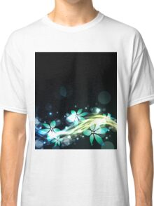 Abstract blue and green flowers Classic T-Shirt