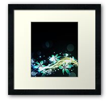 Abstract blue and green flowers Framed Print