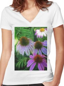 Kathie McCurdy Purple Cone Flowers Abstract Women's Fitted V-Neck T-Shirt