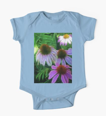 Kathie McCurdy Purple Cone Flowers Abstract One Piece - Short Sleeve