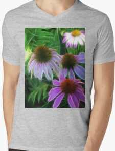 Kathie McCurdy Purple Cone Flowers Abstract Mens V-Neck T-Shirt