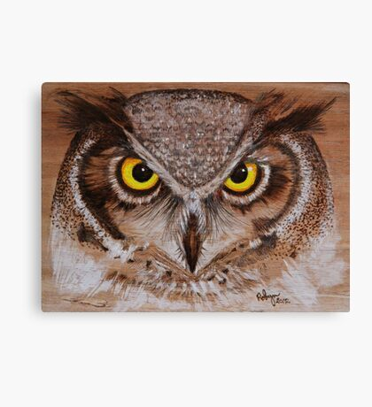 PYROGRAPHY: Great Horned Owl Canvas Print