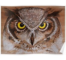PYROGRAPHY: Great Horned Owl Poster