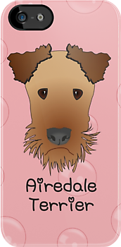 Airedale Terrier Cartoon Style Graphic Illustration on Pink Bubble Background by Catherine Roberts