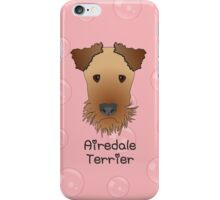Airedale Terrier Cartoon Style Graphic Illustration on Pink Bubble Background iPhone Case/Skin