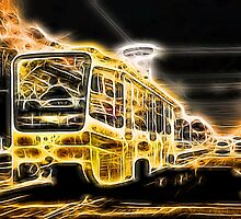 Yellow Neon Trolley Bus in the City by NeonAbstracts