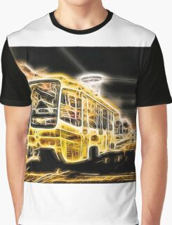 Yellow Neon Trolley Bus in the City Graphic T-Shirt