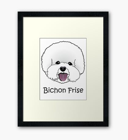 Bichon Frise Cartoon Dog Illustration  Framed Print