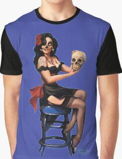 Sugar Skull Retro Pinup Graphic T-Shirt