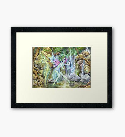 'Waterfall Feys' by Jo Morgan Framed Print