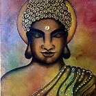 Buddha Bliss - Original Mixed Media Painting by Maradiop