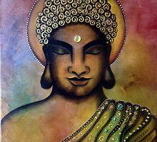 Buddha Bliss - Original Mixed Media Painting by Maradiop