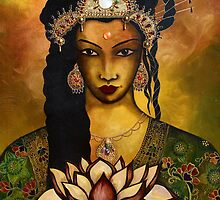 Goddess Kwan Yin - Original mixed Media painting by Maradiop