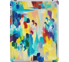 DONT QUOTE ME Whimsical Rainbow Ikat Chevron Abstract Acrylic Painting Magenta Plum Turquoise Gift iPad Case/Skin