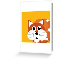 Fat Furry Cat Puss Greeting Card