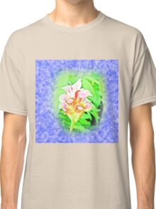 Dimensional surface painting pink flowers Classic T-Shirt