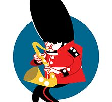 Soldier playing the saxophone by drawgood