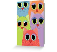 CAT FACES FIVE Greeting Card