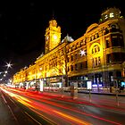 Flinders Street Station - Light Trails by mcrow5