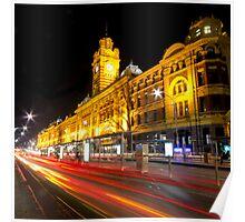 Flinders Street Station - Light Trails Poster