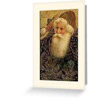 Santa with Pines Christmas Card Greeting Card