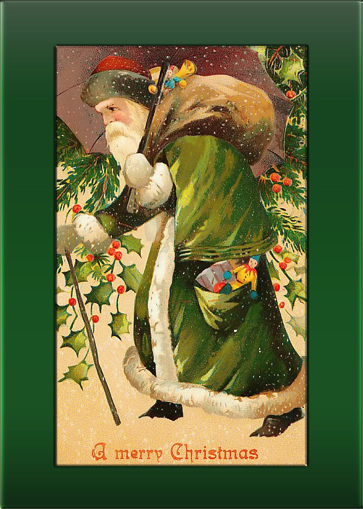 Santa in Snow Christmas Card by Pamela Phelps