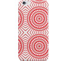 Bright Red Tile Circles With Hints of Green iPhone Case/Skin