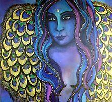 Peacock Ore Goddess - Original Painting by Maradiop