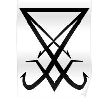 THE SIGIL OF LUCIFER - solid black Poster