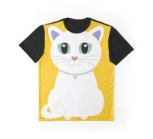 Only One White Kitty Graphic T-Shirt