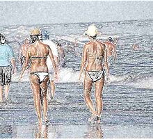 080612 042 0 pastel sketch walking on the beach by crescenti