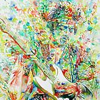 JIMI HENDRIX PLAYING the GUITAR - watercolor portrait by lautir