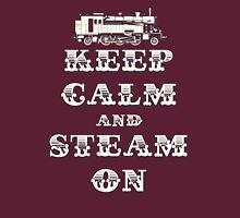 Keep Calm and Steam On Steam Engine #1B Womens Fitted T-Shirt