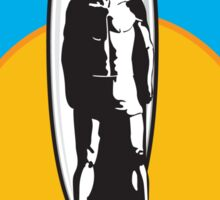Santa Cruz Surfer Statue Sunset Sticker