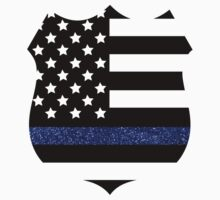 Thin Blue Line Police Flag Badge with Blue Glitter  Baby Tee