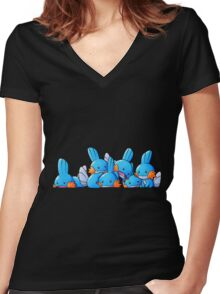 Bundle of Mudkips  Women's Fitted V-Neck T-Shirt