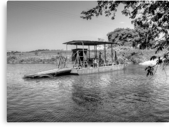 Ferry to cross the Mopan River in Cayo - Belize, Central America by Jeremy Lavender Photography