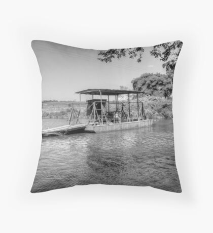 Ferry to cross the Mopan River in Cayo - Belize, Central America Throw Pillow