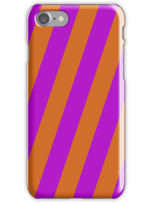 Iphone Case - Chocolate & Purple - Broad diagonal Stripes by chompo