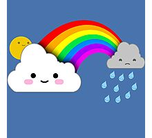 Super Cute Clouds and Rainbow Photographic Print
