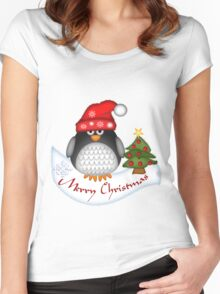 Cute Christmas Penguin Women's Fitted Scoop T-Shirt