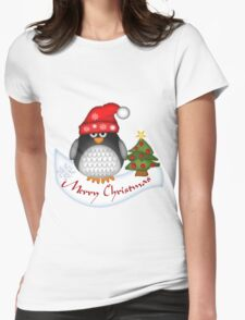 Cute Christmas Penguin Womens Fitted T-Shirt