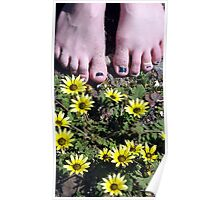 Feet and flowers at Te Arai Surf beach Poster